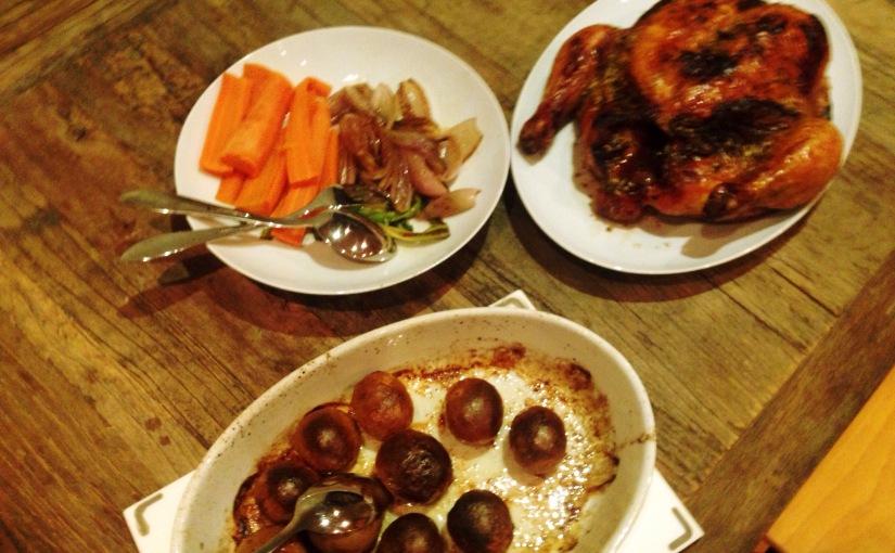 Helstekt kylling og noesaus