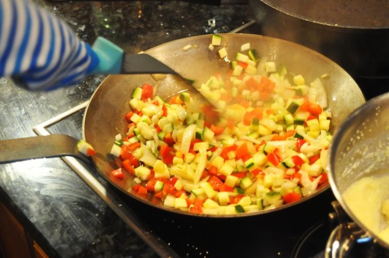 svinekoteletter med polenta_kongen steker grønnsaker