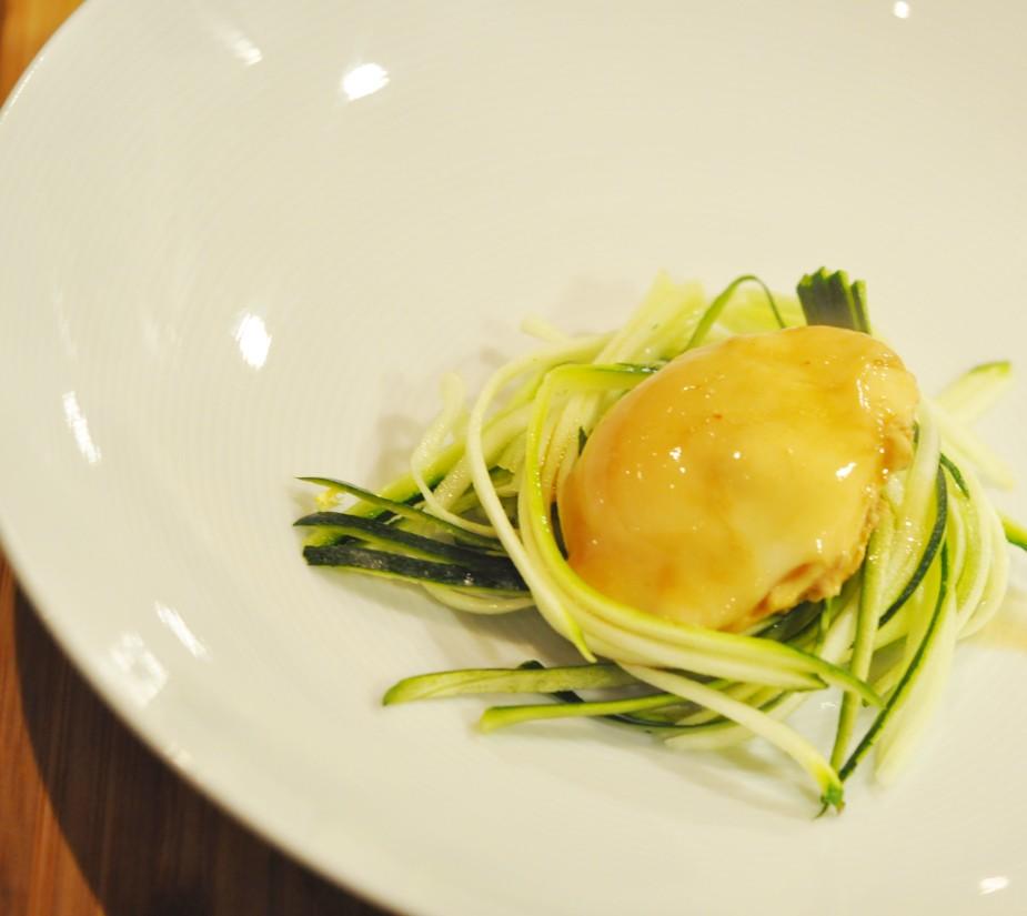 enkel misosuppe med posjert egg og squash nudler_tallerken_posjert_egg
