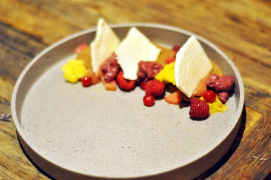 sjokoladeparfait med sommerbær, marengs, pistasjsand, blåbærkrem, fltende ripsgele (4)